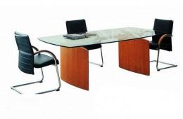שולחן ישיבות אובלי זכוכית